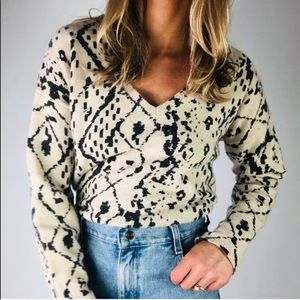 ANTHROPOLOGIE HWR V Neck Printed Yak Wool Sweater